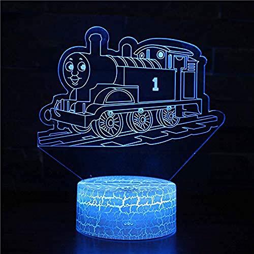 Lokomotiven 3D-Illusionslampe LED 3D-Nachtlicht 7-Farben-Wechsel mit Smart Touch- und USB-Kabel für Dekoration am Bett und Weihnachtsgeburtstagsgeschenke für Kinder