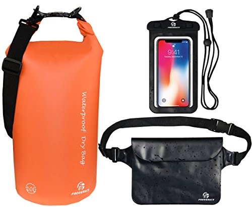 Freegrace Waterproof Dry Bags Set of 3 Dry Bag with 2 Zip Lock Seals & Detachable Shoulder Strap, Waist Pouch & Phone Case - Can Be Submerged Into Water - for Swimming (Orange, 5L)
