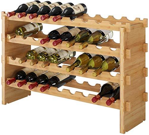Homfa Botellero para 36 Botellas de Vino Botellero Apilable Botellero Bmabú de 4 Niveles 85x21x57cm