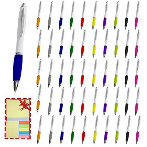 PROJECTS Bunte Kugelschreiber Set 50 Stück Kugelschreiber dicker Griff weiß | Kullis Set Kugelschreiber Großraummine blau | Kugelschreiber ergonomisch Erwachsene Kulli schön schreiben