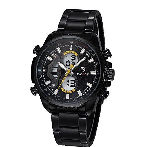 curson Line® Reloj de Pulsera WEIDE WH3410Sport Classic en Acero última Hombre Indestructible Elegante/Joven Negro y Amarillo col375–14