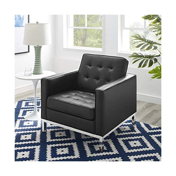 ModwayLoft Tufted Large Upholstered Faux Leather Couch 1