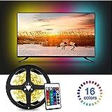 Tira LED TV 2.2M, 5050 Tiras LED USB Impermeable con Control Remoto, 16 RGB Colores y 4 Modos, Retroiluminacion LED de TV para Cine en Casa, HDTV/PC Monitor (40-60 Pulgada) - 2x50cm+2x60cm