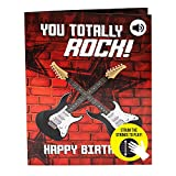 "Interactive Musical Birthday Card - Strum The Guitar to Play ""Smoke on The Water"" - Giant Happy Birthday Card for Him with Advanced Technology – Big Birthday Cards for Men - 8.25 x 11.7'"