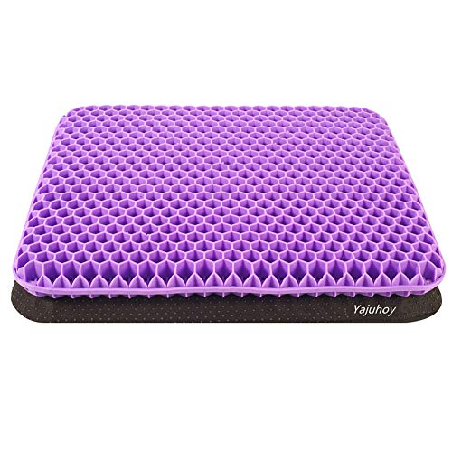 Yajuhoy - Cojín de gel de doble grosor para sentarse largo con funda antideslizante, almohadillas transpirables de nido de abeja que absorbe los puntos de presión para silla de ruedas