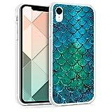 kwmobile Cover Compatibile con Apple iPhone XR - Back Case Custodia in Silicone TPU Trasparente Coda da Sirena Turchese/Blu/Verde