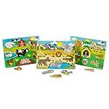 Melissa & Doug World of Animals Peg Puzzle Bundle