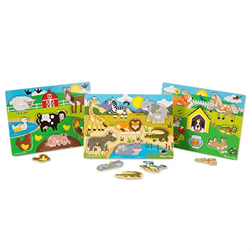 Melissa & Doug World of Animals Peg Puzzle Bundle