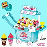 Ice Cream Cart Pretend Play Toys 45 PCS Role Play Food Toys Dessert Candy Trolley Ice Cream Shop Pretend Play Toys with Storage Box Educational Gift for Kids Age 1,2,3 (Product Size: 42*26*46 cm)