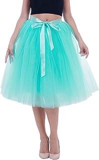 Lau's Faldas de Tul Mujer - 5 Capas /6 Capas Falda Tutu Larga - Falda Plisada Danza Ballet - Falda Enagua para Bodas y Fiesta