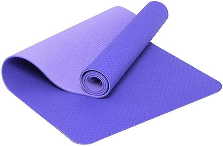 YUN-X Tapis de Yoga Tapis de Fitness TPE   183cm  61cm  6mm   Tapis de Yoga pour Le Massage de Danse (Couleur   Violet)