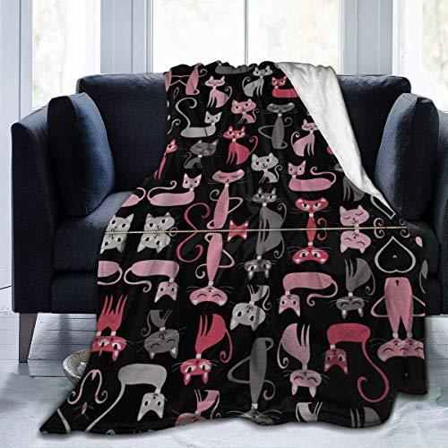 OPO-T Überwurf aus Mikrofaser, Cartoon-Design, Rot / Grau, für Couch, Sofa, Bett,...