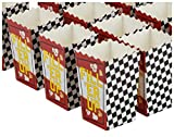 """Includes 50 mini racing themed popcorn boxes; 3.3 x 5.5 x 2.75 Inches Made of 230 gsm durable cardboard; holds up to 20 ounces Fun black and white checkered design and words """"Fill 'Er Up"""" on front side Perfect for racing themed parties, kid's Birthda..."""