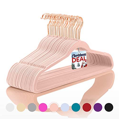 Premium Velvet Hangers Pack of 50 Heavyduty - Non Slip - Velvet Suit Hangers Blush Pink - CopperRose Gold HooksSpace Saving Clothes Hangers