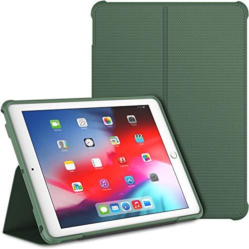 JETech Hülle für iPad 9,7-Zoll (2018/2017 Modell, 6./5. Generation), Doppelfalzständer mit stoßsicherer TPU Rückseite, Auto Schlafen/Wachen, Neblig Blau