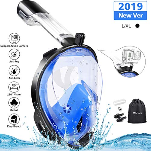 MOSFiATA Snorkel Mask 180° Panoramic View Full Face Diving Mask AntiFog AntiLeak Safety Diving with Detachable Action Camera Mount for Adults and Youth
