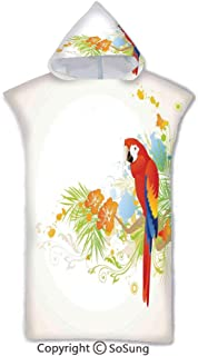 Parrots Decor Kids Hooded Beach Bath Towel,Summer Background with Floral Ornaments and Wise Smart Parrot on Tree Branch Art,7-15 Years Old Microfiber Bath Robe,Cream Red Green,for Beach Pool Shower