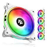 AsiaHorse FS-9002 120 mm ARGB Cojinete Case/Radiador Blanco Caja Ventilador (efecto luz dentro y exterior) con Sincronización de placa base de 5V Hub/Analógico PWM (5 unidades) - Blanco