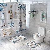 MANNUOSI Alfombrillas de baño Suave Antideslizante alfombras de baño Creatividad 4 Piezas Alfombra de Contorno en Forma de U y Cubierta del Asiento del Inodoro Cortina de la Ducha(Estrella de mar)