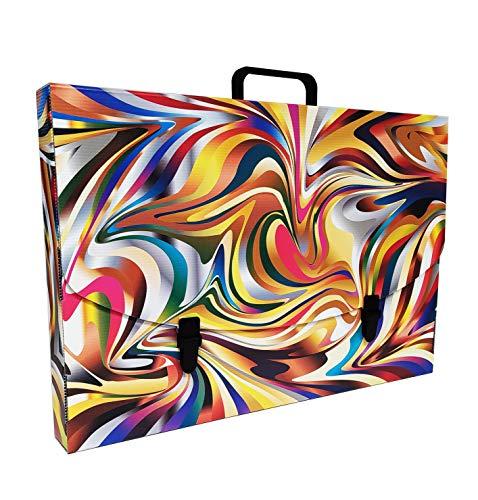 Valigetta scuola in Plastica 100% riciclabile stampata in alta qualità, misure 56X37X5 cm, Made in Italy (COLOURS)
