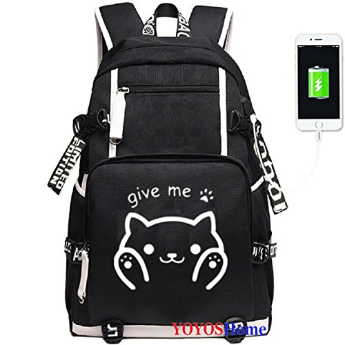 YOYOSHome Anime Neko Atsume Cosplay Rucksack Daypack Bookbag Laptop Backpack School Bag with USB Charging Port