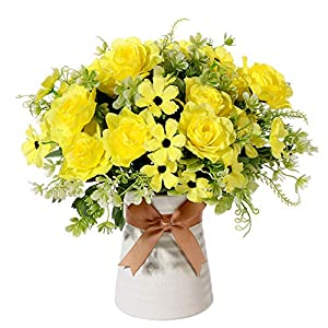 Artificial Flowers in Vase, Fake Gardenia Flowers with Ceramics Vase, Silk Flower Arrangements for Homes Offices Dinning Roon Table Kitchen Desktop Decorate (Yellow)