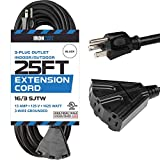 outdoor extension cord 25 ft - 25 Ft Outdoor Extension Cord with 3 Electrical Power Outlets - 16/3 SJTW Durable Black Cable