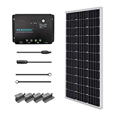 Includes 100W Solar Panel + 30A PWM Negative ground Charge Controller + MC4 Connectors +8Ft 10AWG Tray Cable+ Mounting Z Brackets for RV, Boat Monocrystalline solar cell efficiency: 21%;The Charge controller has been upgraded to Renogy new 30A PWM ne...