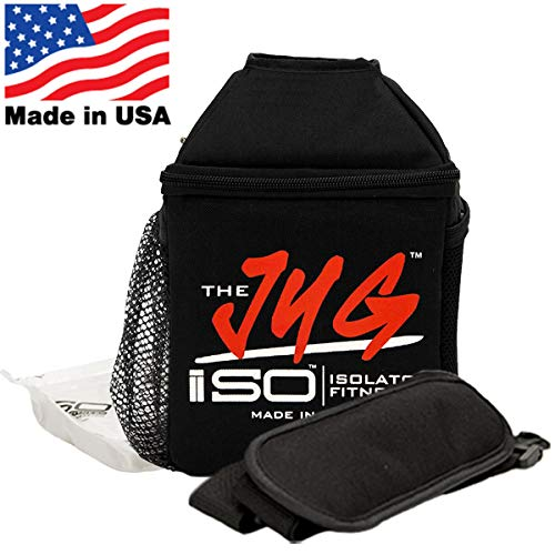 ISOJUG Insulated One Gallon Water Jug Holder with ISOBRICK Ice Pack and Shoulder Strap -MADE IN USA (Black/Red Logo)