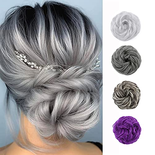 Messy Bun Hair Piece Thick Scrunchy Updo Hair Pieces for Women Wavy Hair Bun Scrunchies Donut Chignon Hairpiece with Elastic Rubber Band 48g Dark Gray