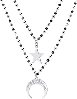 Ouran Heart Shape/Moon and Star Pendant Necklace for Women, Double Layer Rose Gold Silver Plated Necklace Stainless Steel Chain with Black Crystal