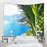 KHKJ Tapiz de Plantas Tropicales Palmera Puesta de Sol Colgante de Pared Ola oceánica Picnic Decoración de Playa Manta de Barco Tapiz de Estrella de mar A2 150x130cm