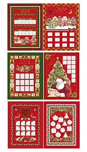 EUROSTYLE Toallas de cocina Art. Calendario 2021 trapo torcione de alta calidad de tejido de algodón 6 piezas con asustos por paquete