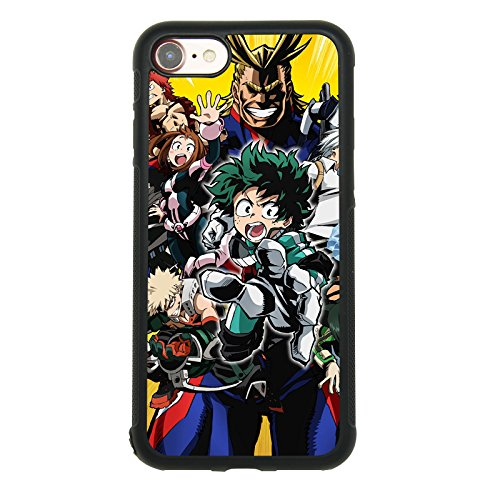 Anime My Hero Academia Theme Case for iPhone 7, iPhone 8 (4.7 Inch) TPU Silicone Gel Edge + PC Bumper Case Skin Protective Printed Phone Full Protection Cover
