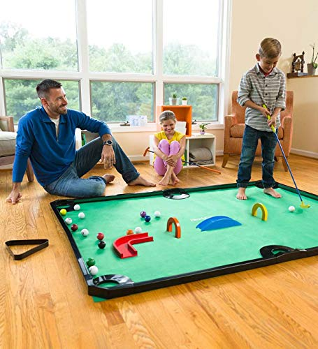 HearthSong Golf Pool Indoor Family Game Special, Includes Two Golf Clubs, 16 Balls, Green Mat, Rails, and Wooden Arches and Ramps