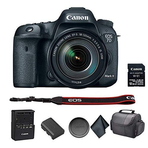 Canon EOS 7D Mark II DSLR Camera with 18-135mm f/3.5-5.6 is USM Lens & Wi-Fi Adapter Bundle Kit with Carrying Case + More - International Model