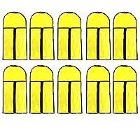 10個入り ウィッグ収納袋 ウィッグバッグ 収納ケース 防塵収納バッグ 専門用かつら収納袋 ヘアエクステンション収納袋 (イェロー)