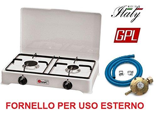 Réchaud de table Parker 2 feux alimentation gaz GPL (gaz dans les bouteilles) usage extérieur 2002 cGP + Kit régulateur attaque italie