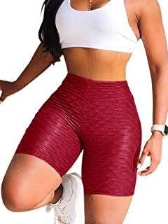 ALLUMK Womens High Waisted Yoga Pants Stretchy Ruched Butt Lifting Workout Running Shorts Tummy Control