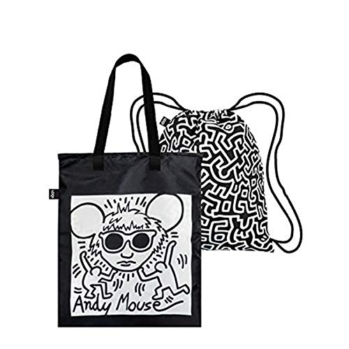 LOQI LOQI Keith Haring Andy Mouse & Untitled Duo Backpack Reise-Henkeltasche, 44 cm, Andy Mouse & Untitled