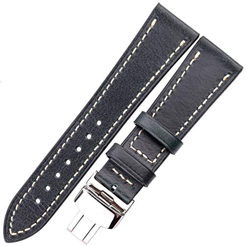 DFKai1run Reloj Correa de Cuero, Mira la Correa 18 20 22 Accesorios de Relojes Retro de 24 mm para Mujeres y Hombres Casual (Band Color : Dark Blue, Band Width : 24mm)
