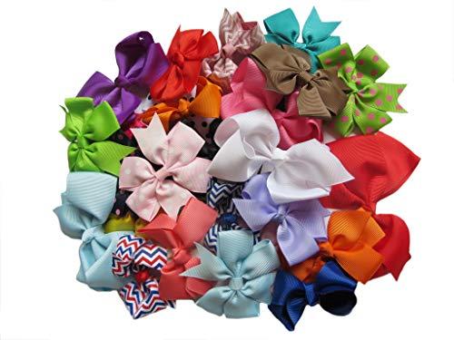 YYCRAFT Lot de 30 nœuds en ruban gros-grain Couleurs assorties pour cheveux pour bébé DIY Décoratif fait à la main (7,6-11,4 cm Mélange de couleurs sans clips)