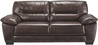Ashley Furniture Signature Design - Mellen Contemporary Leather Sofa - Walnut Brown