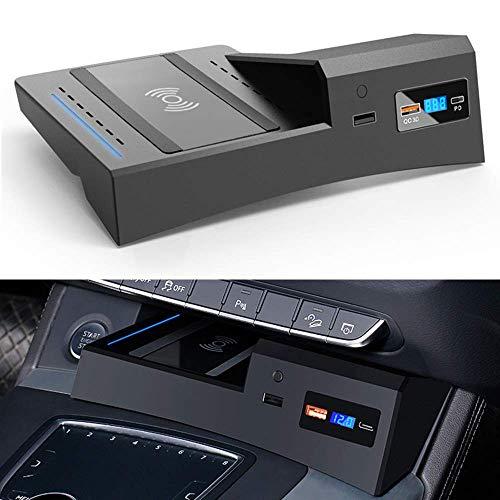 BUSUANZI Cargador inalámbrico para Coche Apto para Audi Q5 SQ5 2018 2019 2020 2021 Salida de 15W QC 3.0 Carga rápida USB Compatible con iPhone Samsung