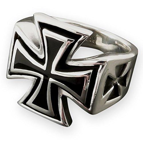 Fly Style Eisernes Kreuz Ring aus Edelstahl für Herren, Ring Grösse:19.1 mm