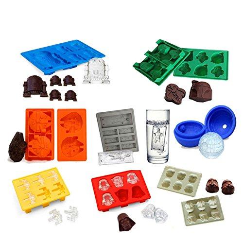 Bandeja de hielo de silicona/moldes de chocolate Baifeng Set de 8: Stormtrooper, Darth Vader, X-Wing Fighter, Millennium Falcon, R2-D2, Han Solo, Boba Fett, y estrella de la muerte 商品名称