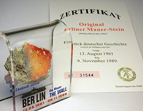 Original Piece of the REAL BERLIN WALL Mounted in Acrylic Display with Certificate of Authenticity - Authentic Historic German Artifact Souvenir from Europe - MEDIUM 3