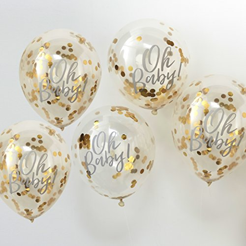 Ginger Ray Oh Baby Shower Confetti Balloons Gold Foiled 5 Pack