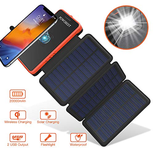 POWOBEST Solar Charger,Qi Wireless Solar Power Bank,20000mAh Portable Solar Charger,Dual USB Portable Charger,Solar Battery Pack,Backup Power Charger,Outdoor Power Bank with Led Light Flashlight