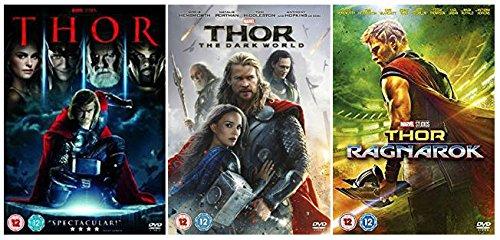 Thor 1-3 Trilogy Complete DVD Collection : Thor / Thor: The Dark World / Thor Ragnarok